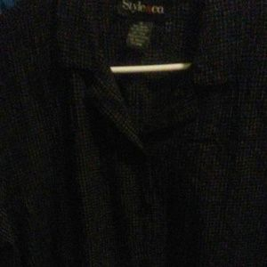 Style and co black white squared sz 14 button up